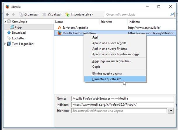 Pulire Cronologia Internet di Firefox