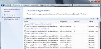 disinstallare aggiornamenti Windows 7