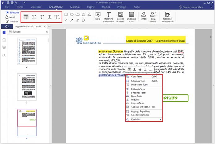 selezionare testo da file pdf