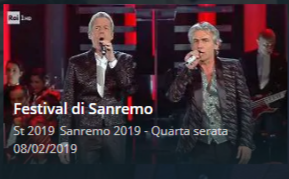 SanRemo 2019 streaming Quarta serata